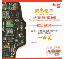 2018robotex世界机器人中国区总决赛获奖证书