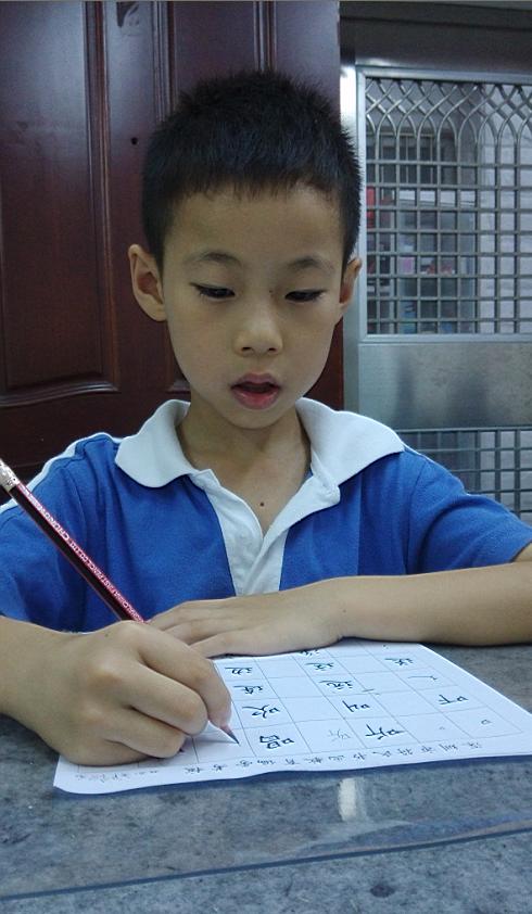 写在格子里了:字的结构,笔画笔顺都有进步.但是杨老师说我写字还