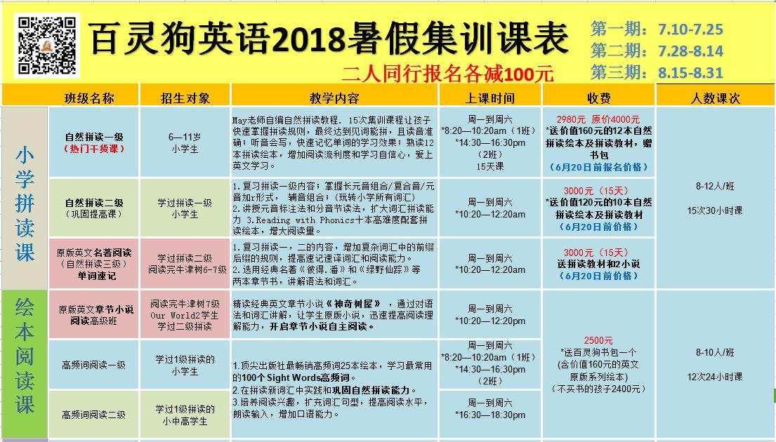 2018年暑假课程安排